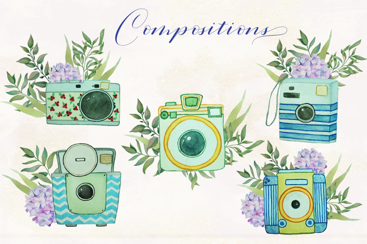 Floral Watercolor Vintage Cameras