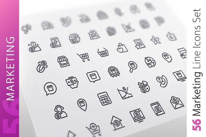 Marketing Line Icons Set