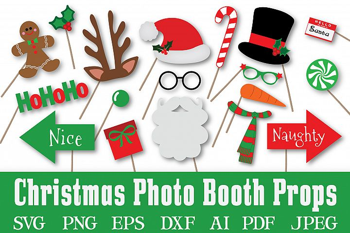 Christmas Photo Booth Props - SVG Cut File - PNG - DXF