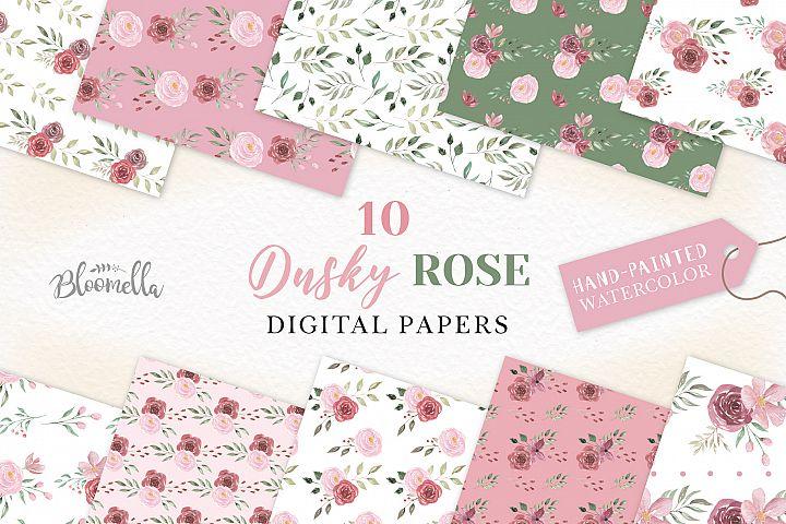 Pink Roses Flowers Patterns Digital Papers Wedding Floral