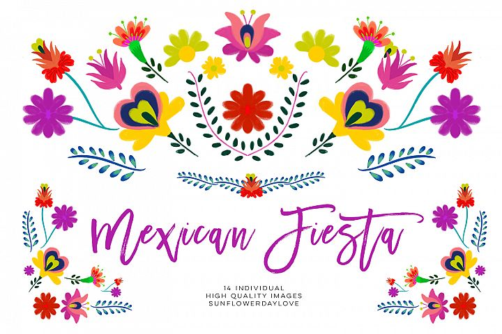 Fiesta clipart, Mexican Watercolor Floral clipart