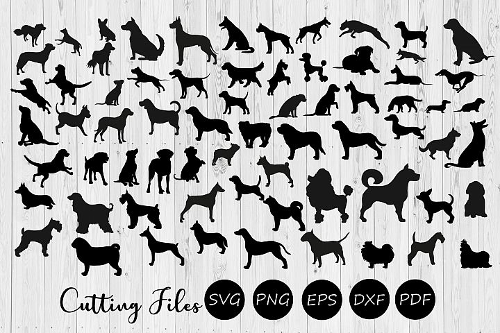68 Dog silhouettes super bundle | SVG Cut file |