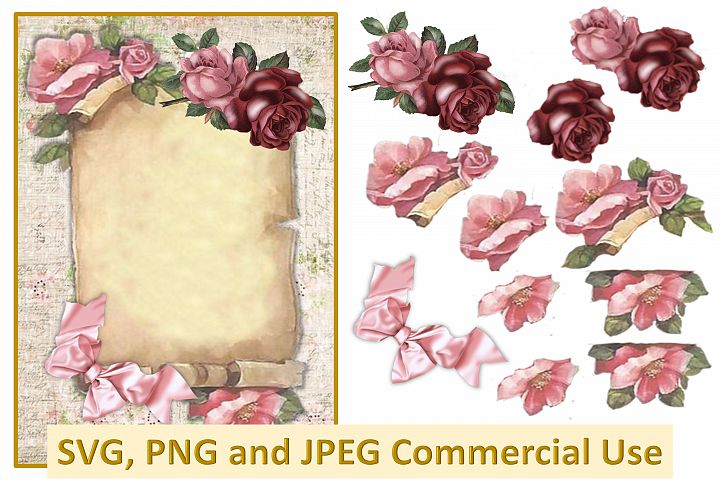 Vintage Scroll collage decoupage sheet SVG, PNG and JPEG CU