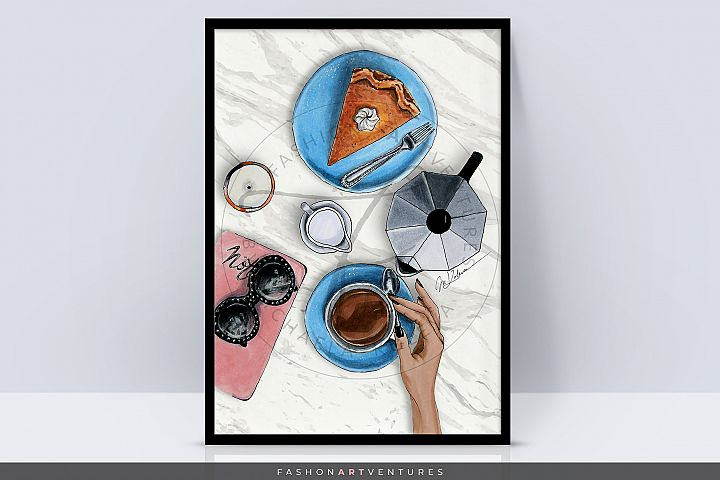 Coffee break - Flatlay Art print, Coffee art, Lifestyle