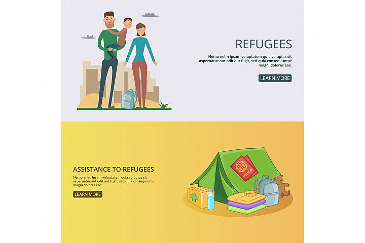 Refugee banner set concept vector illustration