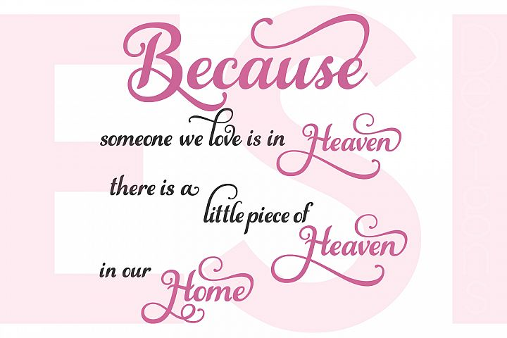 Because someone we love is in heaven there is a little piece of heaven in our home - Quote example