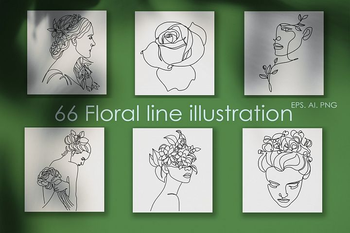 66 Botanical Line drawings. Nature line logo