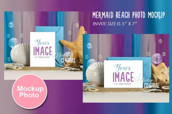 Mermaid, Ocean, Beach, Sea Water 5 x 7 Mock Up Card, JPG