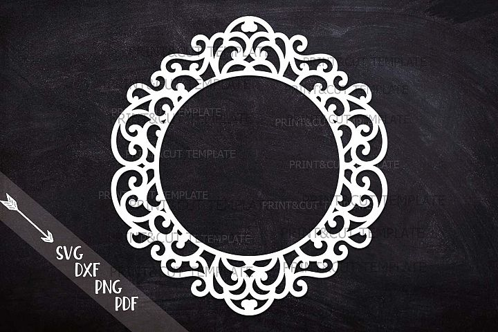 Swirly Circle Monogram frame Family name sign ready for cut