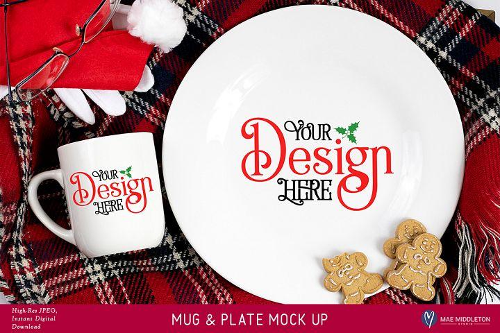 Christmas Mock Up - Santa Mug & Plate Mock Up