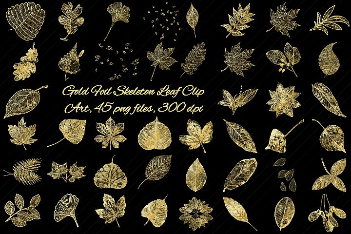 Gold Foil Skeleton & Lace Leaf Clip Art