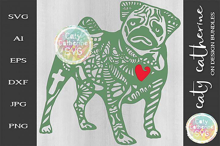 Pug Zentangle Dog SVG Cut File