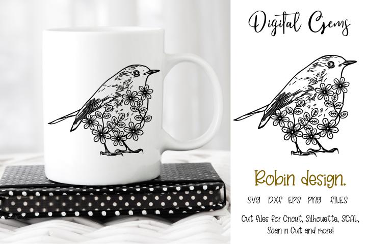 Robin, Christmas floral Bird design SVG / DXF / EPS / PNG