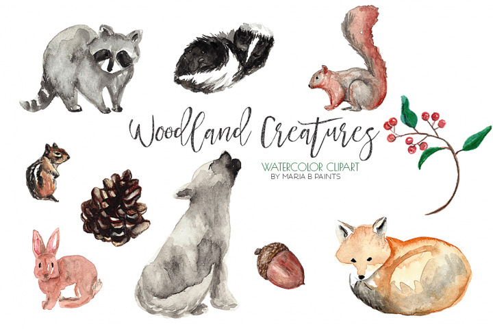 Watercolor Clip Art Forest Animals