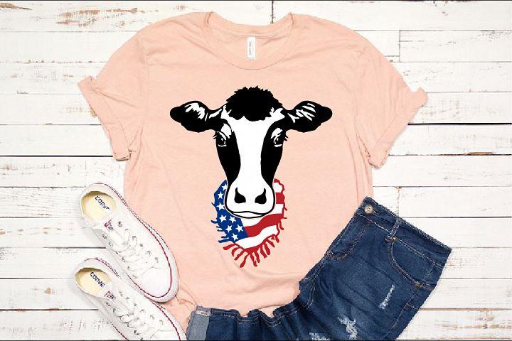 Cow Head whit Scarf US flag SVG Farm american heifer 1271s