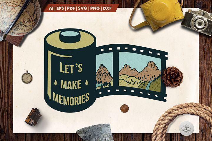 Mountain Film Roll Logo / Mountain Logo / Make Memories Logo