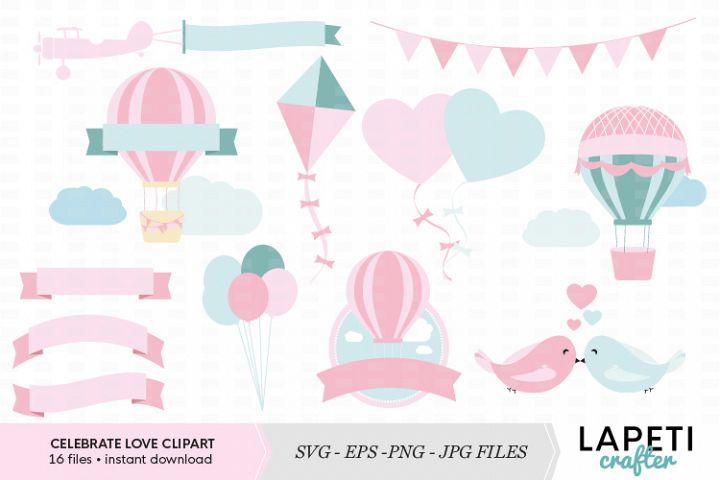 Hot Air Balloon clip art, Wedding Clipart, Baby Shower