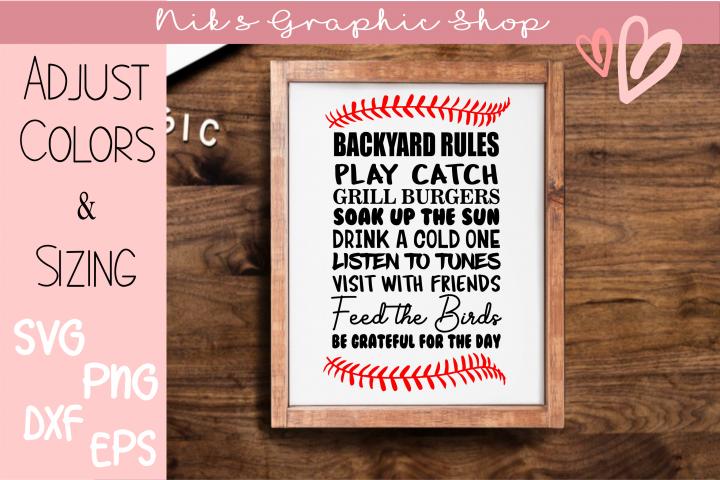 Baseball SVG, Backyard Rules SVG, Ball Stitches svg