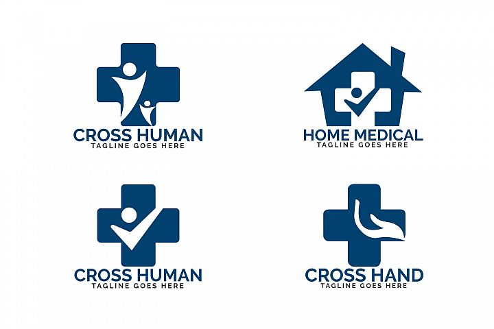 Home medical logo design set. Health care logo design.