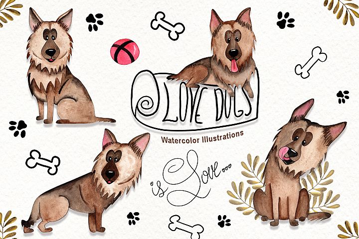 Watercolor Dogs Illustrations