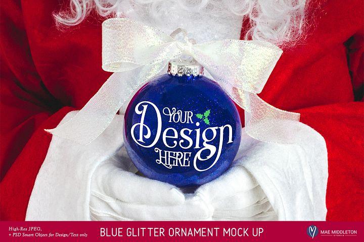 Christmas Mock up - Santas Blue Glitter Ornament