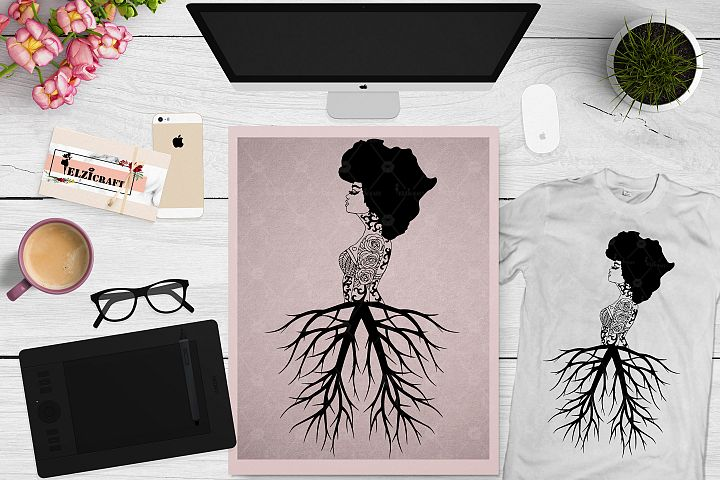 Afro Woman Roots, Black History Month, Africa Map SVG