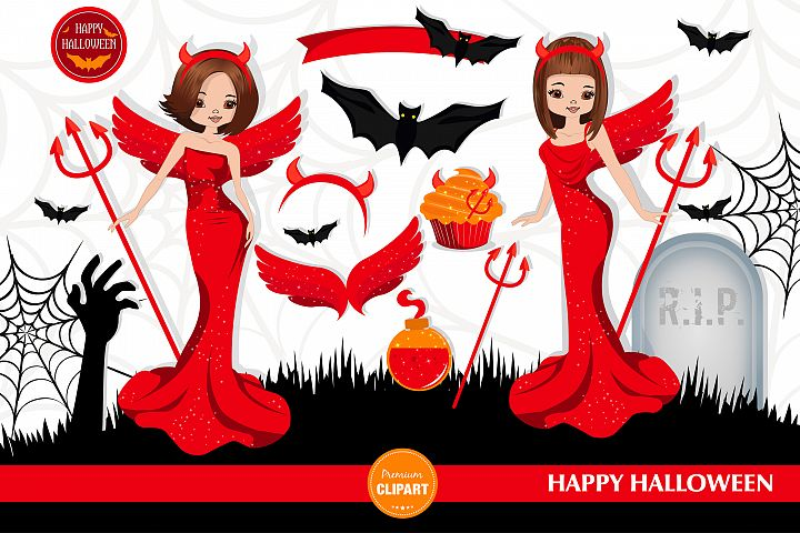 Halloween girl, Halloween illustration, Halloween devil girl
