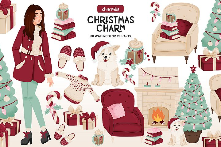 Cozy Christmas Watercolor Clipart