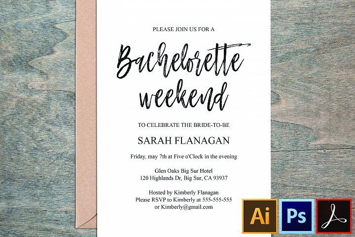 Editable PDF Wedding Bachelorette Invitation Card Welcome