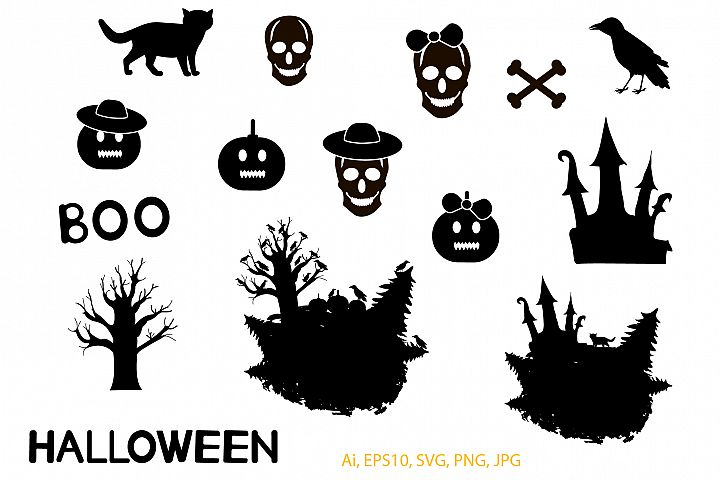 Halloween set. Ai, EPS10, JPG, SVG, PNG