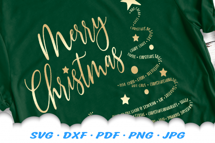 Merry Christmas Word Tree SVG DXF Cut Files
