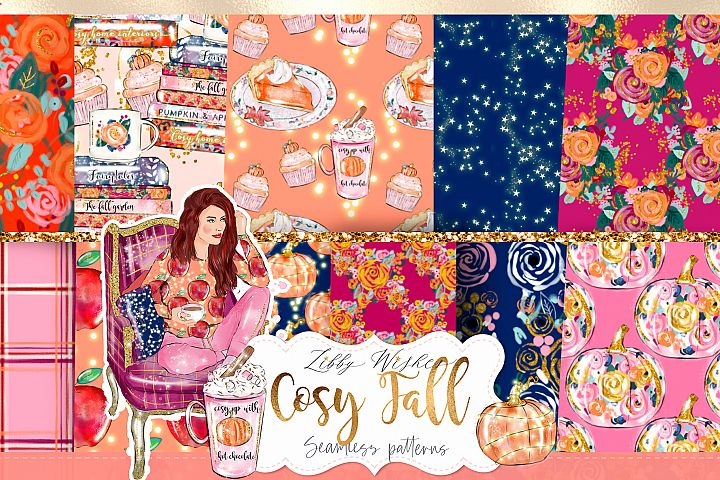 Cosy Autumn Patterns digital papers