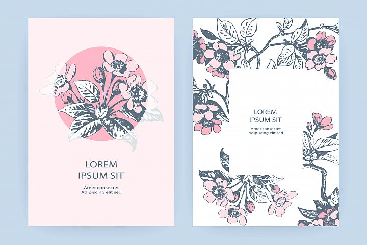 Hand drawn sakura pink blossom flowers and leaves on branche