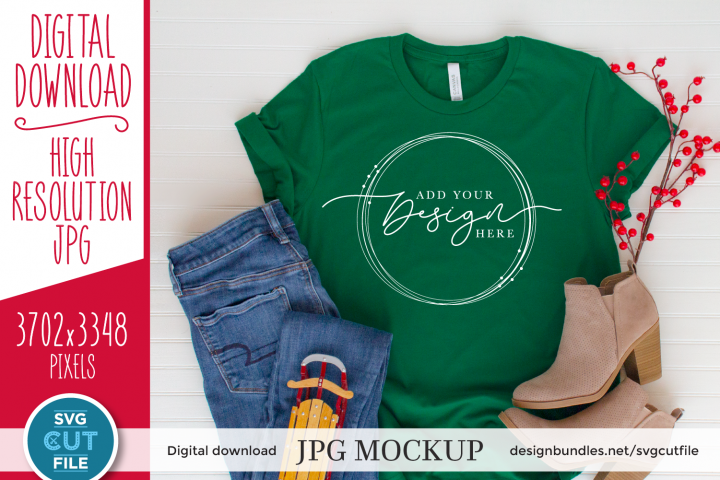 Mockup Bella Canvas 3001, Evergreen Shirt Mockup, green Xmas