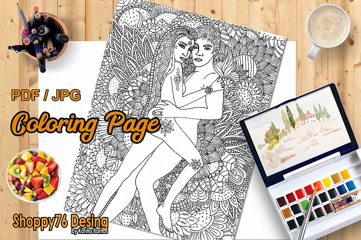 Floral love / coloring page