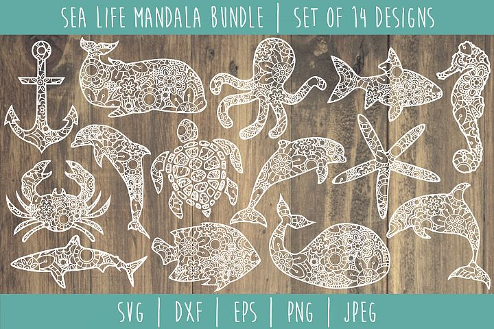 Sea Life Mandala Zentangle Bundle Set of 14 - SVG