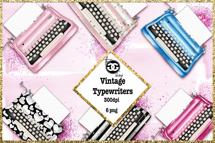 Typewriters PNG clipart set