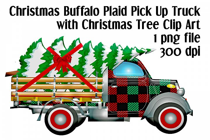 Christmas Buffalo Plaid Pick Up Truck with Christmas Tree