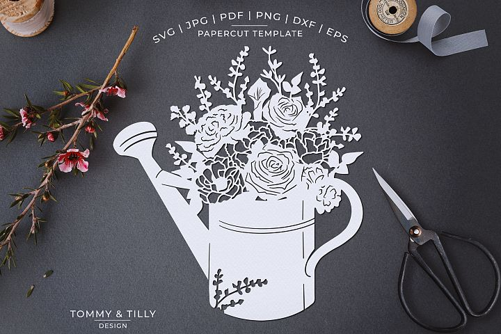 Romantic Floral Watering Can - Papercut Template SVG JPG PNG