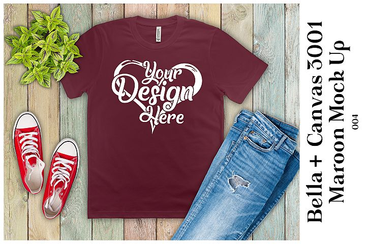 Mens T-Shirt Mockup Maroon Bella Canvas 3001 Mock up Flatlay