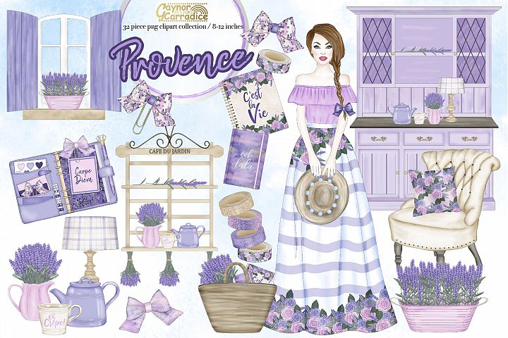 Provence - watercolor lavender Clipart collection 2