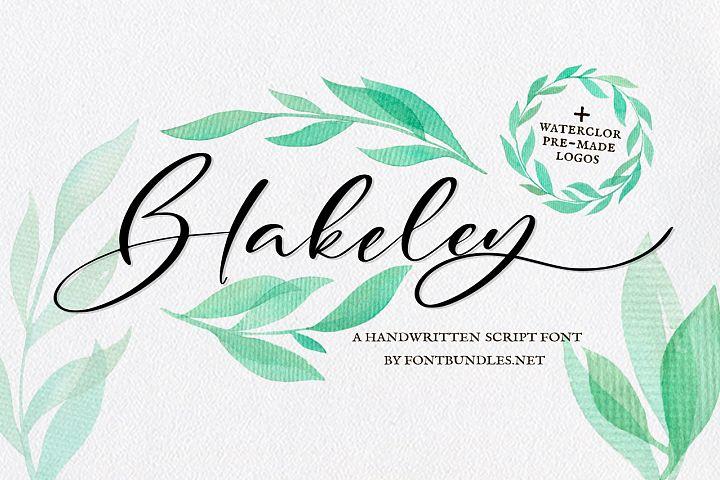 Blakeley Script Font & Watercolor Logos