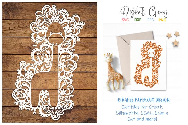 Giraffe paper cut design SVG / DXF / EPS files