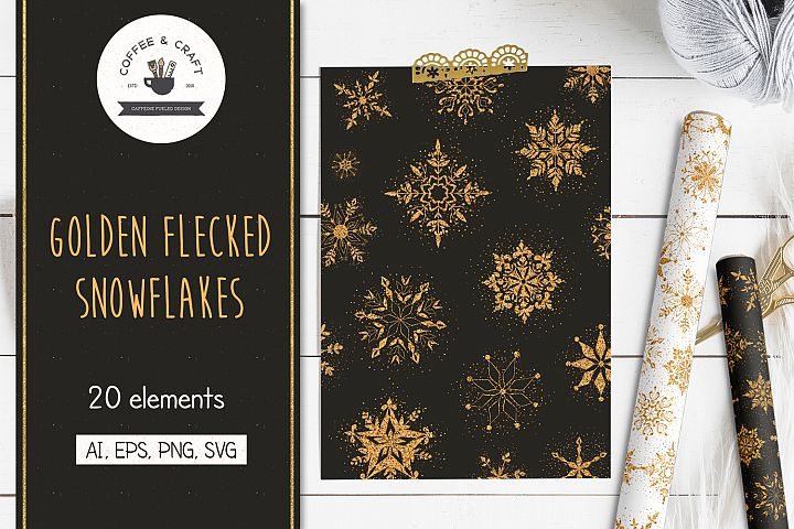 Golden Flecked Snowflakes