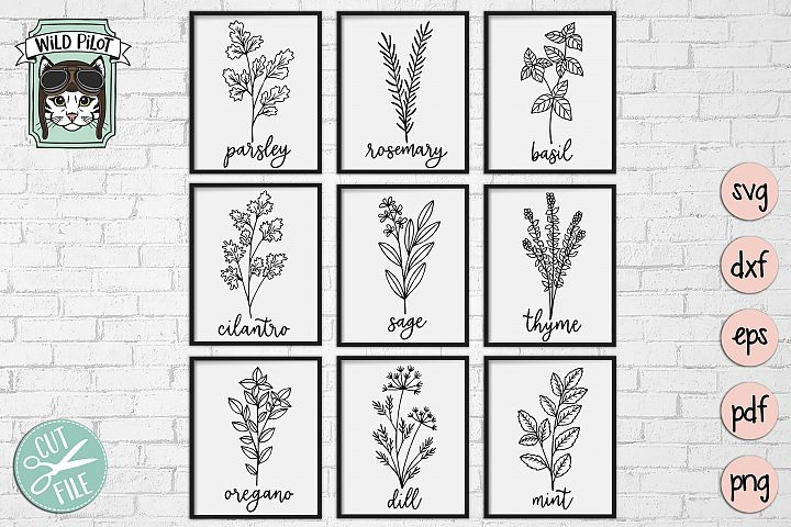 Herbs SVG files, Herb Set Cut file, Garden, Kitchen, Organic