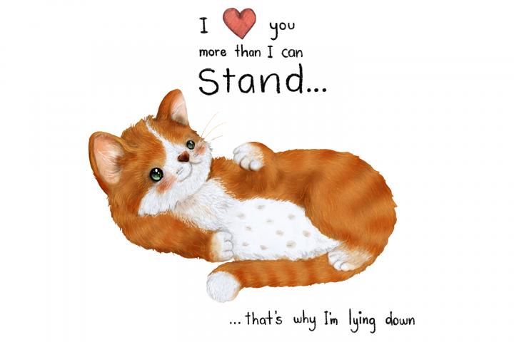 Lazy Cat | Clip Art Illustration | PNG/JPEG