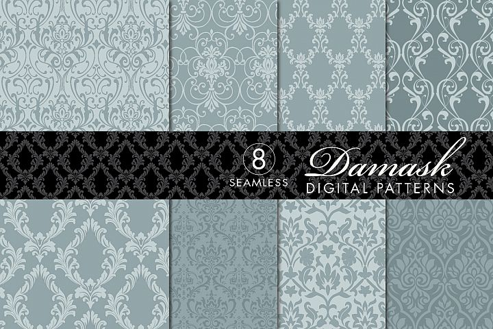 8 Seamless Damask Patterns - Light & Dark Gray Blue