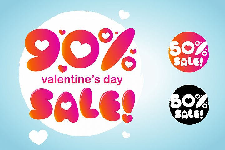 Valentines Day Discount And Sale Number Design With Love Symbol
