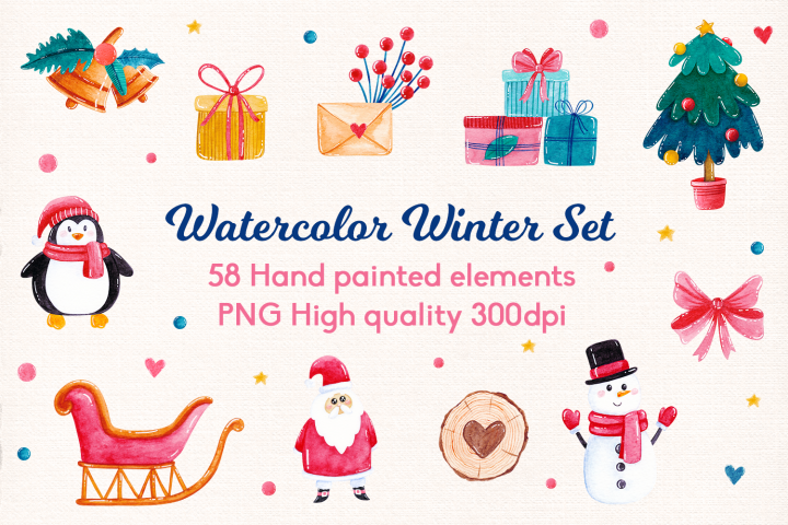Hand Painted Watercolor Winter Set