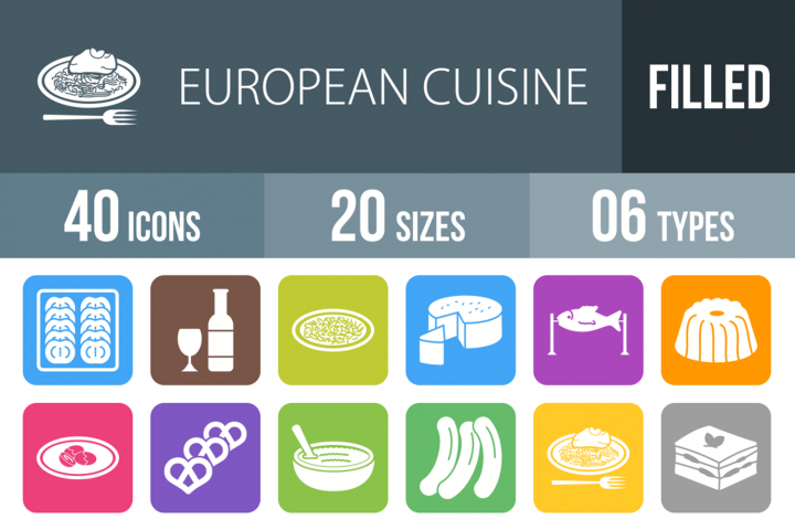 40 European Cuisine Filled Round Icons